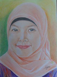 Sis Uchi, Portrait, Lukisan wajah, lukisan dengan pensil warna, Lukisan, Feti Sumaryanti, Fetixuyan16, Feti Xuyan, Drawing, Traditional Art