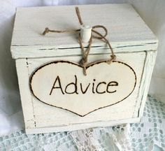 Advice Card Box Rustic Wedding Decor by ButterBeanVintage on Etsy from ButterBeanVintage on Etsy. Saved to Rustic Wedding Decorations.