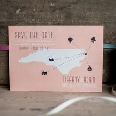 Wedding Save the Date Card - The Coral - state save the date, Destination wedding, travel, pink, modern, rustic wedding, rustic style on Etsy, $2.90