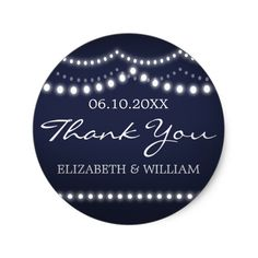 Dark Blue Wedding | Drape Lights Thank You Sticker Say THANK YOU with this sweet little sticker design: This art is elegant and fun, reminiscent of a summer night. The design features a deep, dark blue background, cursive and classic white text, and strands of pearly white and glowing lights. Customize everything from the color of the background to the color and style of the text. Add your own information, and presto: you're good to go. So get everything ready, check thank you stickers off…