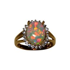 Red Crystal Opal Ring with Diamonds 14k Gold
