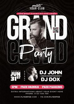 Download the Free Grand Party Event Flyer PSD Template! - Free Club Flyer, Free DJ Flyer, Free Flyer Templates, Free Party Flyer - #FreeClubFlyer, #FreeDJFlyer, #FreeFlyerTemplates, #FreePartyFlyer - #Club, #DJ, #Electro, #Music, #Night, #Nightclub, #Party