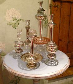 We now have some more of our unique up-cycled candlesticks in stock - be quick as they sell fast! Glass Garden Art, Glass Art, Cristal Art, Collaborative Art Projects, Old Vases, Thrift Store Crafts, Glass Flowers, Glass Dishes, Recycled Glass