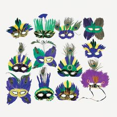 Deluxe Mardi Gras Feather Masks - OrientalTrading.com - $20/dozen