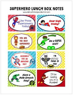Free Superhero Lunch Box Notes Printable