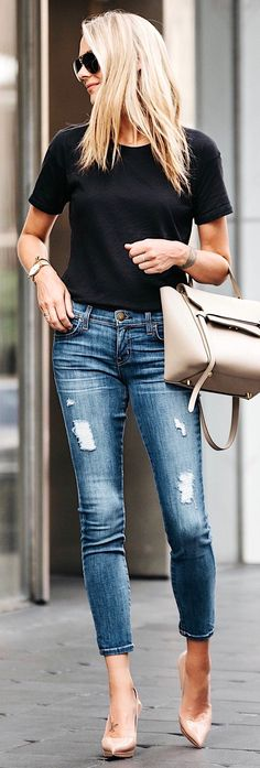 #summer #outfits Black Tee + Ripped Skinny Jeans + Nude Pumps