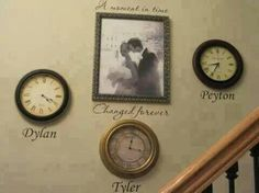 love this! I would possibly get a clock/frame of baby pic for each baby when time stood still :)
