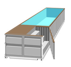 Swimming pool in shipping container