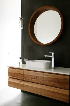 floating reclaimed wood vanity and black bathroom wall. above-counter sink. home. Wood Bathroom, Bathroom Renos, Laundry In Bathroom, Bathroom Interior, Small Bathroom, Master Bathroom, Vanity Bathroom, Bathroom Modern, Master Baths