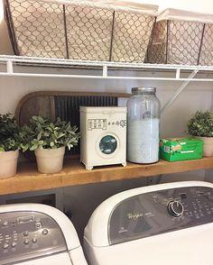 50 Fantastic Farmhouse Laundry Room Decor Ideas - Page 30 of 51 Laundry Room Remodel, Laundry Room Organization, Laundry Room Design, Laundry Storage, Farmhouse Laundry Room, Laundry In Bathroom, Laundry Rooms, Basement Laundry, Laundry Decor
