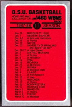 1987-88 OHIO STATE BUCKEYES BUDWEISER BEER MENS BASKETBALL POCKET SCHEDULE #Pocket #SCHEDULE