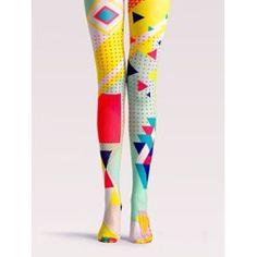 Collants Femme Taille Haute À Pattern Géométrique Multicolore Choies