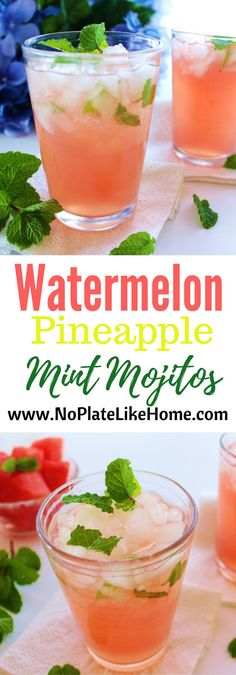 Refreshing Watermelon Pineapple Mint Mojitos taste like summer! The recipe uses watermelon and pineapple juice with simple syrup and fresh mint leaves to bring together the flavors of summer. Pin for your next party and make a pitcher!