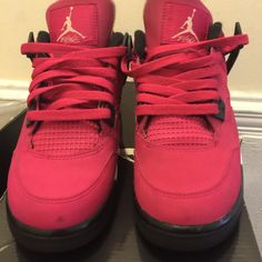 Air Jordan 4s pink Valentine's Day size 5y A few marks and cracking as shown in the picture box included size 5 grade school great condition Jordan Shoes Sneakers