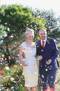 confetti is always a win! (from RocknRoll Bride) idea: have confetti for pics before ceremony not just for send off