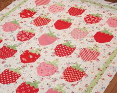 The Pattern Basket: Strawberry Social quilt in Pam Kitty fabrics!
