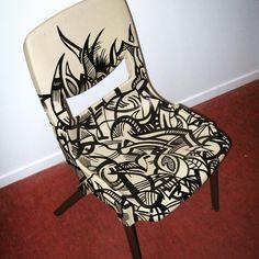 Back when I couldn't afford a canvas #art #abstract #black #posca #chair #sambunny