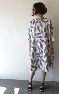 Image of Palmistry Hands 100% linen Sunja Link dress