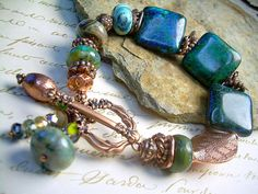 Gemstone And Copper Bracelet With Ocean Jasper, Azurite And Turquoise by JewelFireDesigns