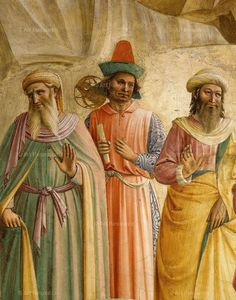 Fra Angelico - Three scientists taking part in procession, from Adoration of the Magi, fresco 1437-45, Convent of San Marco, Florence, Italy (detail)