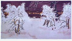 Андрушкевич Владимир Ильич (1923-2010) «Электричка» 1980 Snow Art, Socialist Realism, Linoprint, Japan Art, Vintage World Maps, Moose Art, Japanese, Gallery, Artist