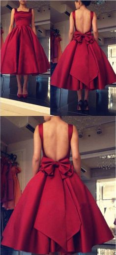 Vintage Prom Dress,Short Prom Dress,Backless Prom Dress,Red Prom Dress,MA053