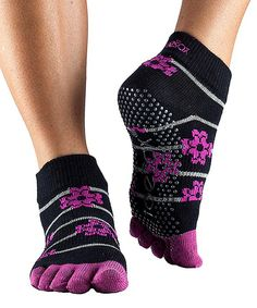 Look at this Bed of Roses Full-Toe Organic Gripper Ankle Socks on #zulily today!
