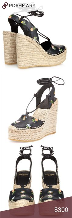 Saint Laurent Floral Espadrille Wedge Sandals Worn once or twice for a shoot! Bought these for almost $700 and are now on the Barney's website for under $400 ... they are so comfy but just don't find myself wearing them! Saint Laurent Shoes Espadrilles
