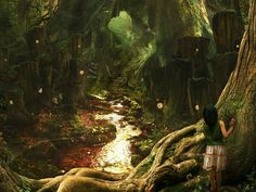 44 HD Masterpieces of Matte Paintings and Fantasy Scene Wallpapers - The Greenwood Deep, Fantasy Landscape Illustration Wallpaper 30 3d Fantasy, Fantasy Kunst, Fantasy Landscape, Fantasy World, Fantasy Fairies, Dark Fantasy, Forest Wallpaper, Scenery Wallpaper, Fairy Tale Forest
