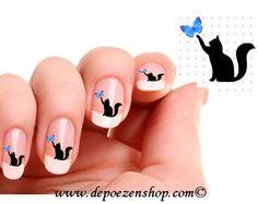 Uñas: manicura francesa con dibujo de gatos #Nails #NailArt #NailPolish