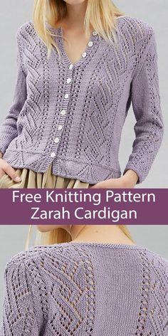 Ladies Cardigan Knitting Patterns, Free Knitting Patterns For Women, Double Knitting Patterns, Knit Cardigan Pattern, Lace Cardigan, Cardigan Sweaters For Women, Crochet Cardigan, Knitting Designs, Knit Lace