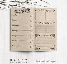 Midori Printable Weekly Planner Inserts - Printable Bullet Journal