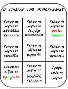 OPΘOΓPAΦIA Class Dojo, Greek Language, Work Activities, School Themes, Special Education, Grammar, Back To School, Classroom, Teacher