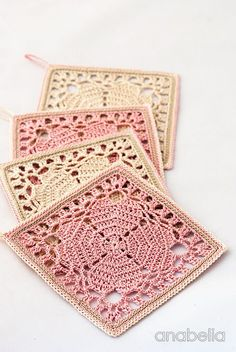 "Japanese crochet squares as coasters! Free pattern ""Japanese square crochet coasters: FREE pattern by Anabelia"" Filet Crochet, Beau Crochet, Crochet Diy, Thread Crochet, Crochet Crafts, Crochet Projects, Crochet Cord, Crochet Flower, Knitting Projects"