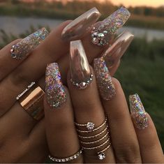 Sparkles and gold. My kind of nails