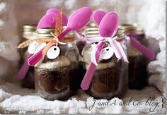 Bake your cake in mason jars! Guests can eat it at the party or take it home to eat later. Surely this would work in pint jars, too, to make smaller servings. What a cute way to use up all those jars!