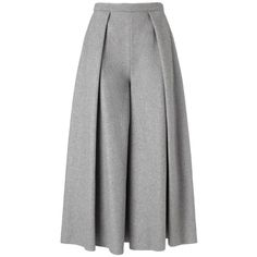 Rejina Pyo Grey Wool Calra Culottes ($260) ❤ liked on Polyvore featuring pants, skirts, bottoms, trousers, grey, pleated trousers, grey trousers, gray pants, flared trousers and wide-leg pants