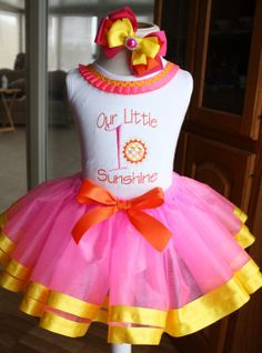 Baby Girls First Birthday, Our Little Sunshine tutu set, pink, orange, yellow,,,,You are my sunshine