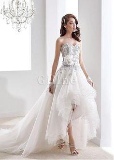 Robe de mariée elégant de col en cœur a-ligne salut appliques