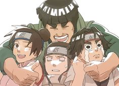 Tags: Fanart, NARUTO, Rock Lee, Pixiv, Hyuuga Neji, Tenten, Might Guy, PNG Conversion, Fanart From Pixiv, Team 9, Pixiv Id 751981
