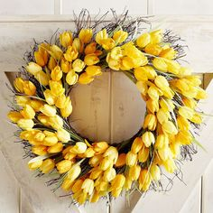 Tulips portend the arrival of spring, and yellow buds in particular represent cheerful thoughts. So give your guests the warmest welcome possible with our exclusive wreath, handcrafted with natural grapevine, faux bulbs and plenty of spring-inspired cheer.