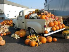 This is so wonderful.old pickup trucks decorated with pumpkins Vintage Pickup Trucks, Pumpkin Farm, Fall Wallpaper, Holiday Wallpaper, Happy Fall Y'all, Fall Pictures, Fall Harvest, Harvest Time, Autumn Inspiration