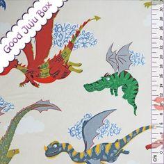 Kinderstoffe - The dragons  - Alexander Henry - Natur - ein Designerstück von Good-Juju-Box bei DaWanda