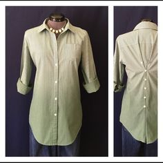 """Elizabeth and James """"Cohen"""" Cotton Shirt BEAUTIFUL!!  it's a pretty green and blue stripe and the green is an awesome ombré effect, lighter at the top, darker at the bottom. The BACK is what makes this top incredible!! """"Lean cotton shirt inspired by menswear design features a line of buttons down the center back for a slightly adjustable silhouette."""" -E&J. Bust measured flat is 20"""", back of neck to hem is 27"""". Size Medium. 100% cotton, Dry Clean only. This is a seriously awesome shirt. In…"""