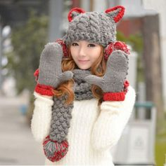 Cute Devil hat scarf and gloves set for women winter wear gray