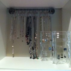 My new jewelry storage!! The neclace holder was an idea I got off here...this is in my closet.