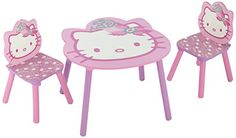 Delta TT 89449 Hello Kitty Tisch 60 x 60 cm plus 2 Stühle, MDF