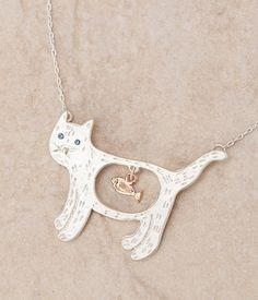 Sterling silver cat necklace with 14K gold fish charm