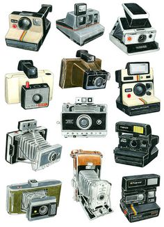 Polaroid: we're proud to represent the iconic camera brand. Everyone has a polaroid moment they remember. Things have moved on somewhat from these classics. Antique Cameras, Vintage Cameras, Vintage Photos, Camera Drawing, Camera Art, Camera Decor, Toy Camera, Photography Camera, Vintage Photography
