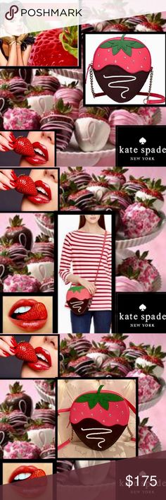 """Kate SpadeCremeDeLaCremeStrawberryCross Body Treat yourself to the creme de la ceame of bagsSatisfy your sweet tooth with this charmingsparkling chocolate dipped strawberry bag 7""""L x 7.6""""H x 2.5""""W strap 49"""" dakota leather with patent kate jacquard lining cross body bag with zipper closure gold staple kate spade new york signatureSwarovski Crystals drip adding bling matching coin purse listed kate spade Bags Crossbody Bags"""